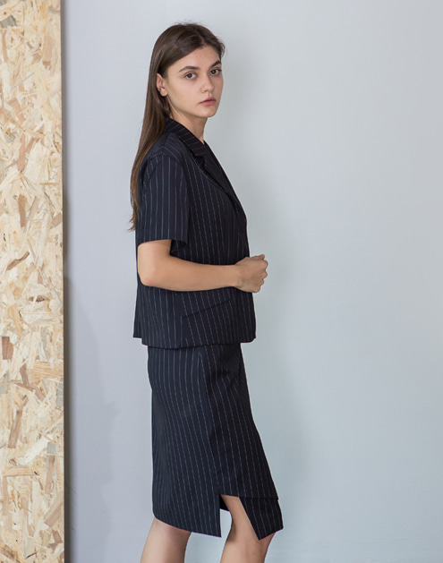 [dumont] Pin stripe Lap-Skirt#DMSK01