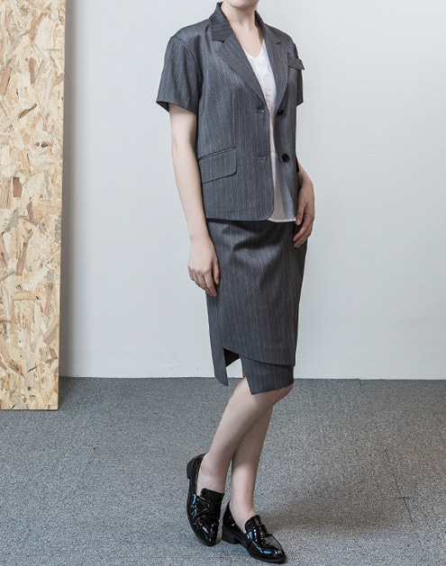 [dumont] Pin stripe Lap-Skirt Grey#DMSK01GR