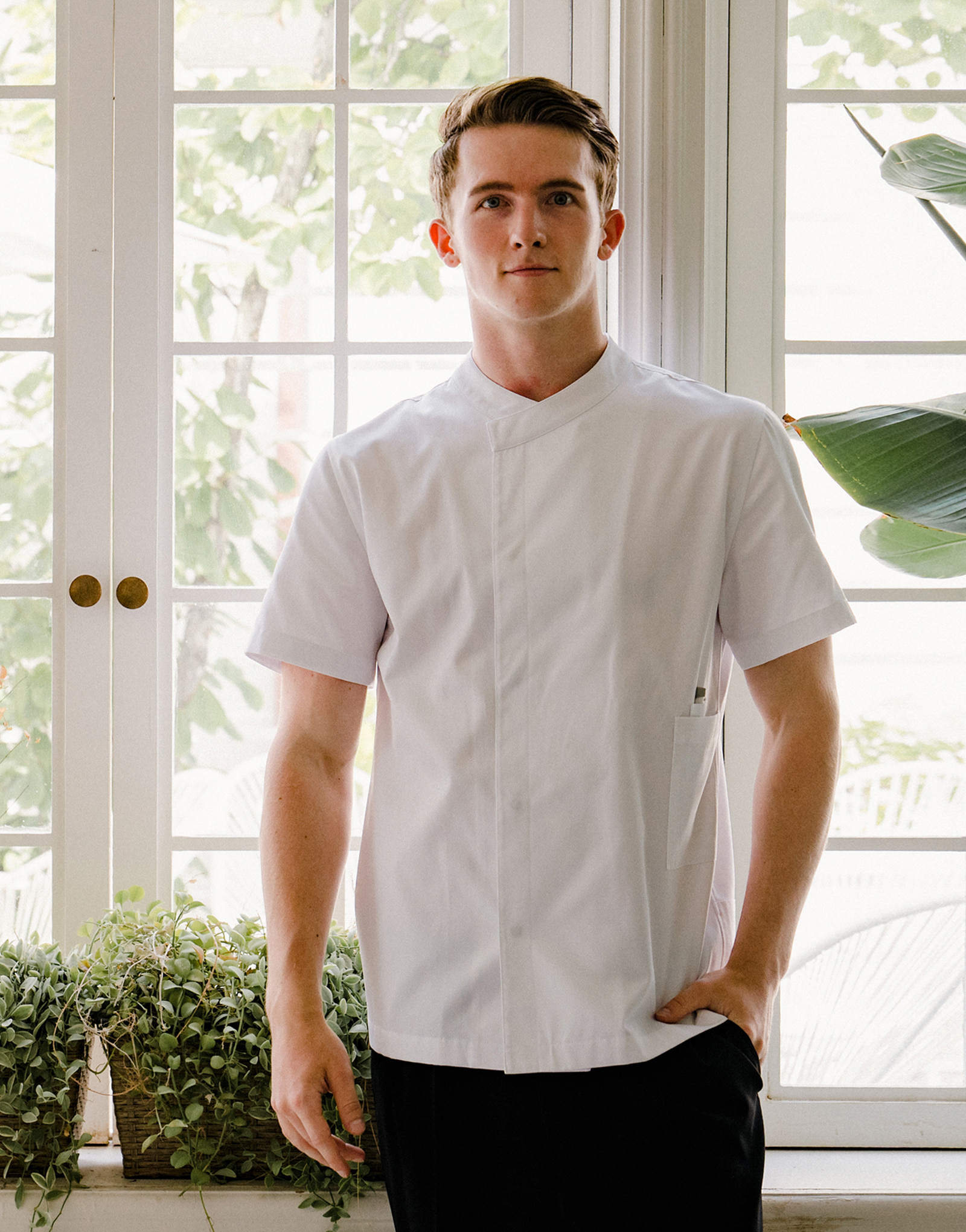 signature back side cooling short sleeve chef coat #AJ1979 white