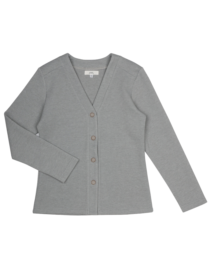 V-neck oxford warm cardigan #AC1981 Melange gray