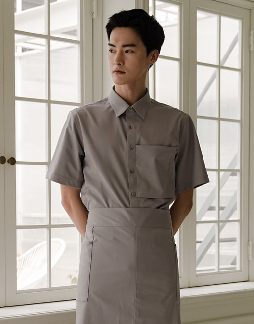 relaxed pocket wrinkle-free stretch short sleeves shirts #AS1943 grey