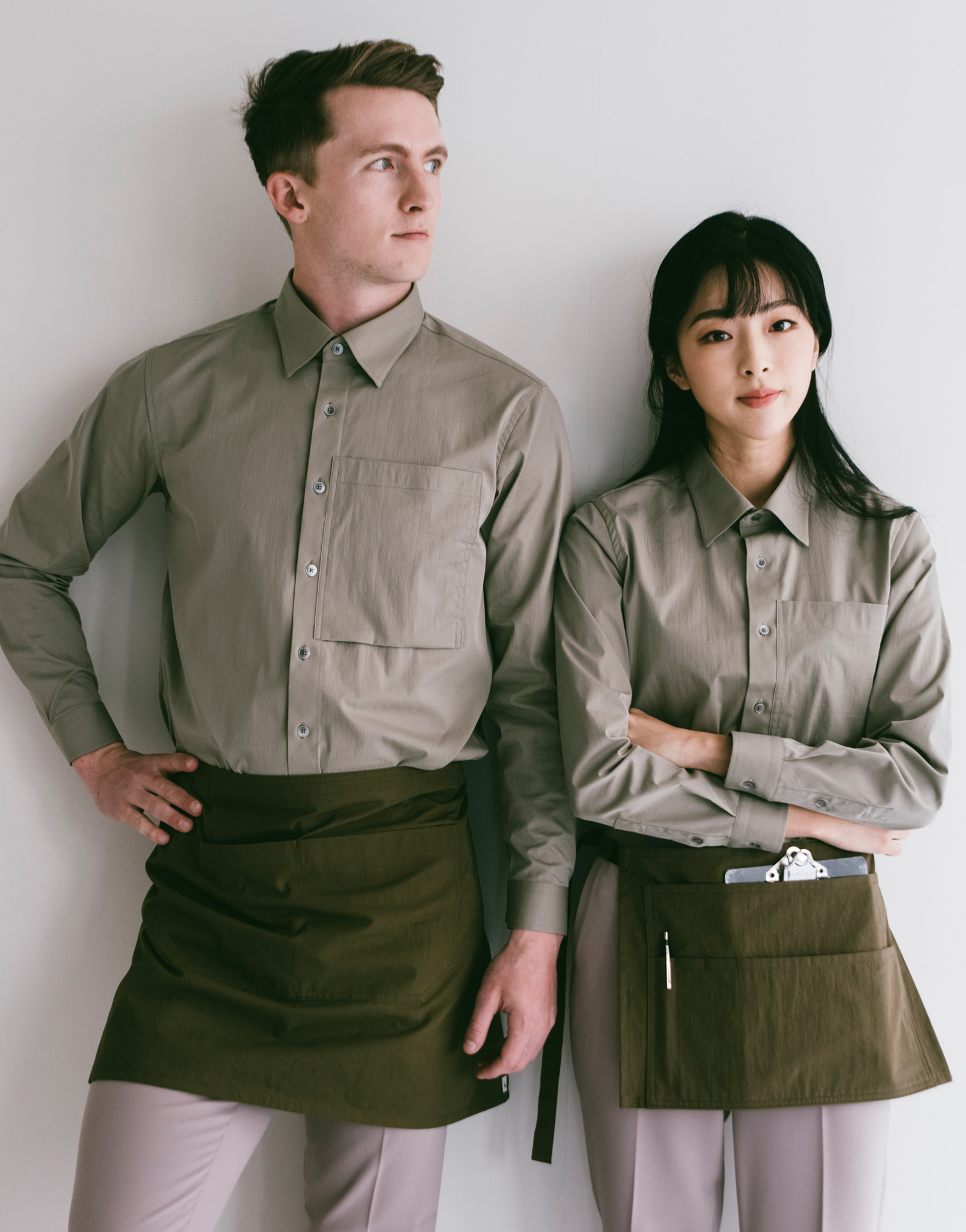 relaxed pocket cotton stretch shirts #AS1942 khaki