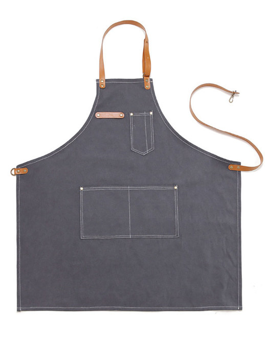 (AA1515) vintage canvas leather apron - grey