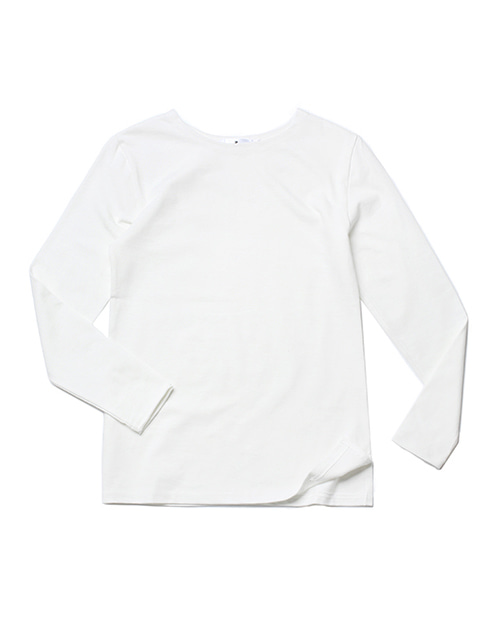 #AT1757 boat-neck washing cotton round tee Long sleeve type