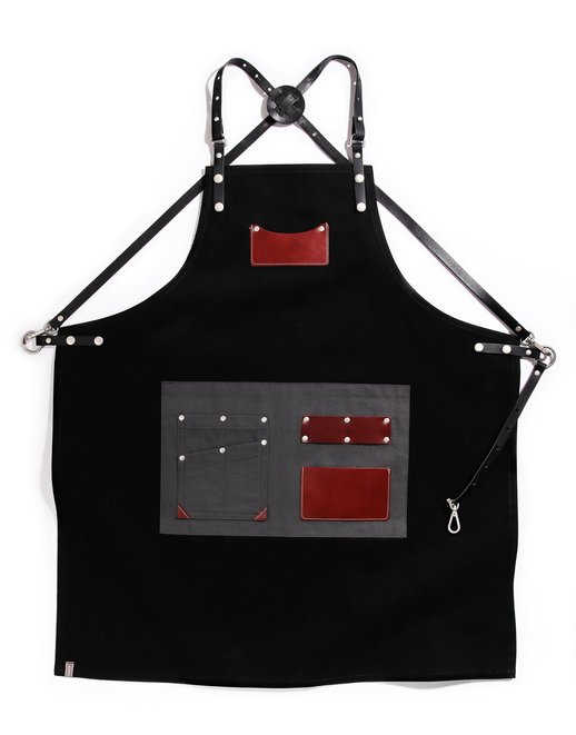 customizing canvas leather apron black #AA1807