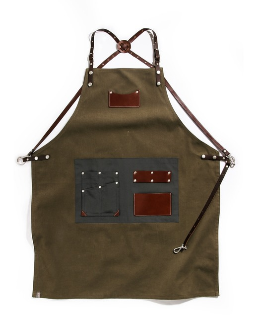 customizing canvas leather apron khaki #AA1807