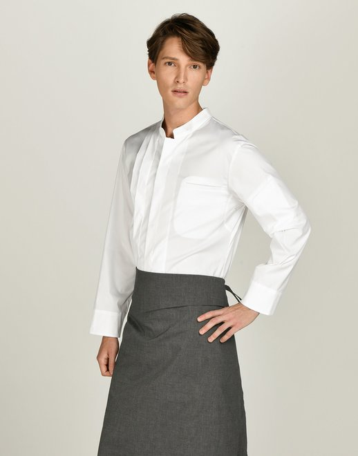side pintuck relaxed chef coat #AJ1913ow