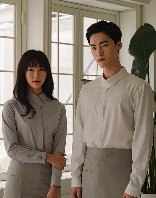 side covered collar cotton stretch shirts #AS1932 whtie